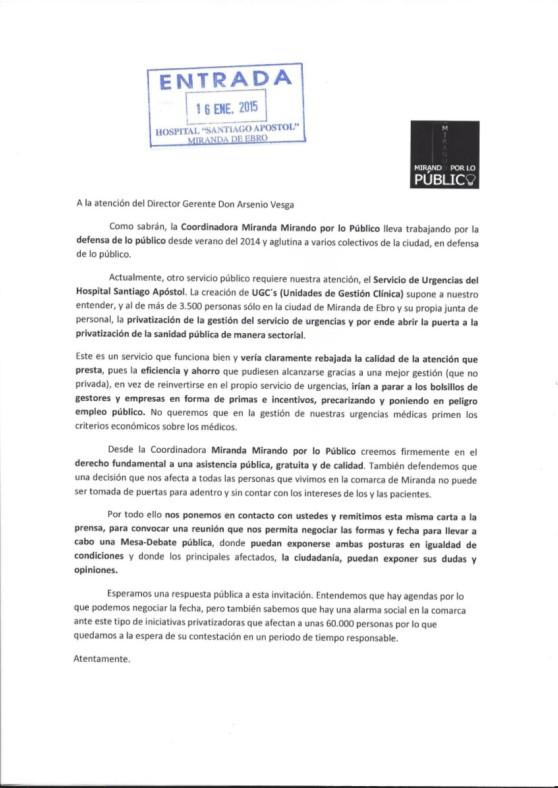CARTA AL HOSPITAL COORDINADORA